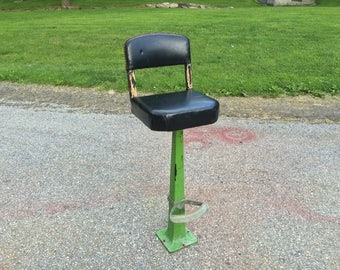ANTIQUE vintage Drug store soda fountain shop ice cream parlor STOOL chair with INDUSTRIAL cast iron metal pedestal base and footrest