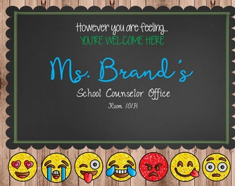 School Counselor Signs (Emoji Themed)