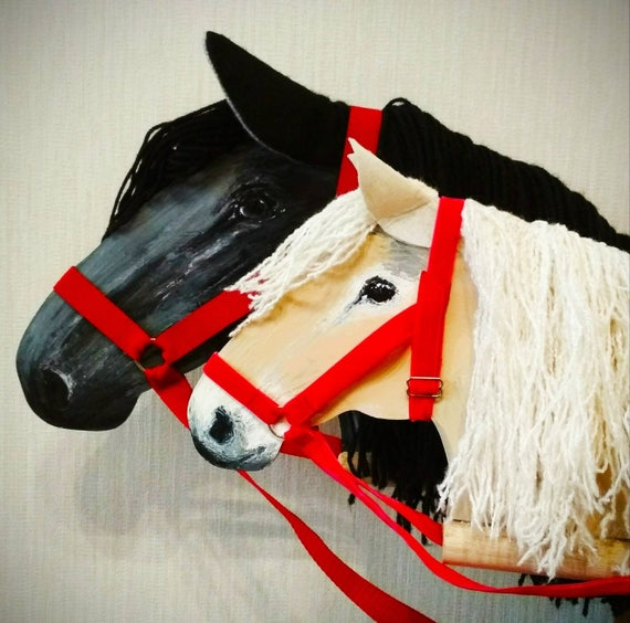 Two stick horses easter gift for kids wooden rocking horse like this item negle Gallery