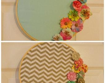 2 set wall hangs / Floral wall decoration / Wall hang / Circle decoration