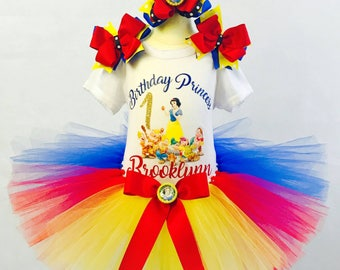 Snow White Birthday Tutu Outfit with Converse Shoes and Parent of the Birthday Girl Shirts and free shipping