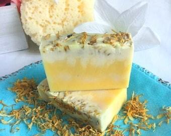 Calendula and Lemon Handmade Soap, Calendula Soap, Organic Calendula Soap,Calendula Flower Soap,Calendula Lemon Soap,Calendula Lavender Soap