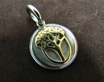 Golden Acorn Tree Pendant
