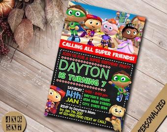 Super Why Invitation / Super Why Birthday Invitation / Super Why Party / Super Why Invite / Super Why Birthday / Super Why Card / Super Why