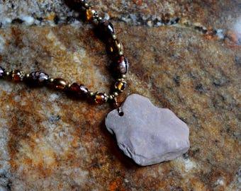 Boho River Rock Beaded Necklace