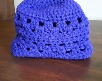 Purple Crochet Beanie Hat