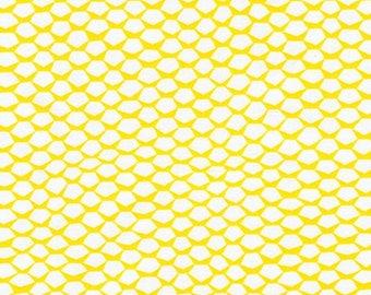 Reef by Elizabeth Hartman - Pineapple in Citrus, Pineapple Fabric, Yellow and White Fabric, Fish Scale Fabric, Robert Kaufman Fabric