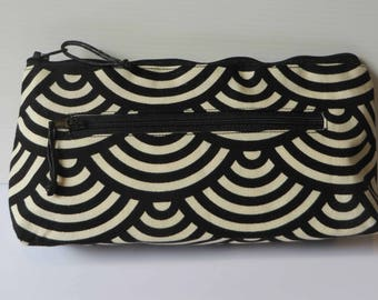 Black and cream twin zip purse