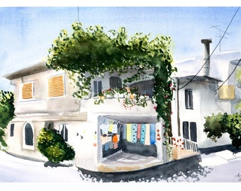 GREEK ISLAND PRINT-Crete Watercolor Painting Art-Greek wall decor-island landscape-Greek islands Greece Prints -Greek painting-cityscape art