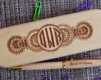 Personalized Engraved Pen Set, Wooden pen Set, Graduation Gift,  Custom Pen Set, Birthday Gift, Maple Pen, monogram pen case. PB12
