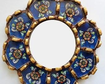 Barranco Floral Reverse Glass Mirror - Round Mirror - Home Wall Decor - Peruvian Gold Mirror