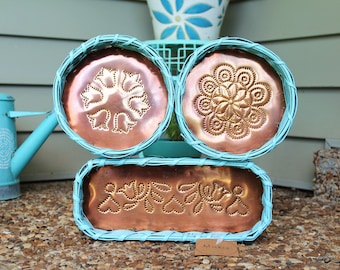 Aqua Wicker Embossed Copper Vintage Basket Wall Decorations - Set of 3