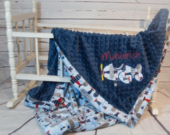Airplane Blanket, Personalized Baby Blanket, Minky Blanket, Airplane Applique, Baby Blanket, Plane Blanket, PMBA3