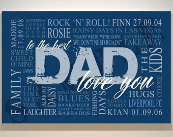Personalised Dad Canvas Word Art Canvas Print