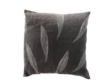 Blockprinted linen pillow cover