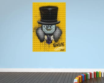 Penguin lego bricks new movie wall sticker decal
