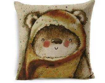 Kids Cartoon Animal Cushion Cover Bear Throw Pillow Case