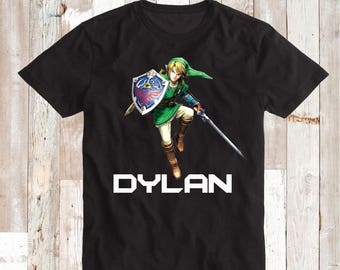 Zelda Shirt Tees Cool Zelda Video Game T-Shirts for Kids With Personalized Name Zelda Wind Breaker Tee Tees T-Shirts Zelda Kids Tees, bb34