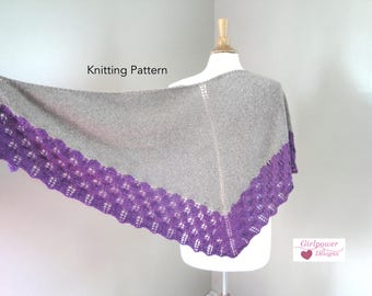 Stockinette Shawl with Lace Border, Knitting Pattern, Fir Cone Lace, Top Down Shawl, Shoulder Wrap, DK Weight Yarn, Elegant Lace Shawl