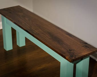 Rustic Bench, Entryway Bench - Black Walnut and Mint