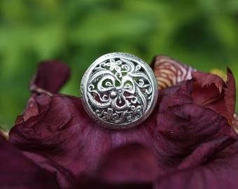 Ring with openwork pattern, Ring with flowers pattern, Big round ring, Sterling silver ring, Ring with blacking