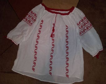 Stunning hand made Romanian peasant blouse