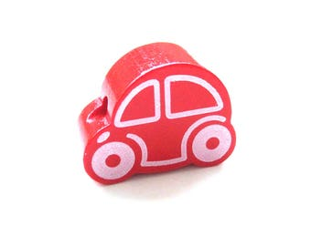 Small car - red wooden bead