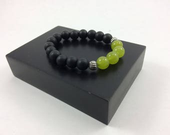 Upscale Matte Obsidian, Jade & Sterling Silver Bead Bracelet, Yoga Bracelet, Protection bracelet, Healing bracelet, bead bracelet