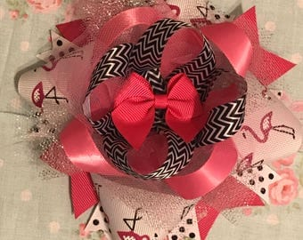 """Pink Flamingo Girls """"Over-The-Top"""" OTT Hair Bow"""
