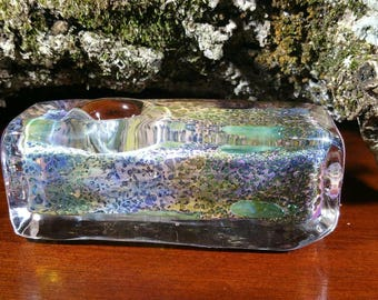"""Free Shipping! 2 Options,Please see Description! 3.5"""" L, 1.5"""" W & H. Heavy gold fumed rectangle glass pipe. 153g Very Heavy."""