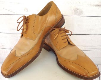 Elegant Gentleman's MEZLAN Two Tone Made in SPAIN Leather SHOES Sz 11 Medium