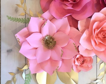 7 Pinks paper flower set with Sequins