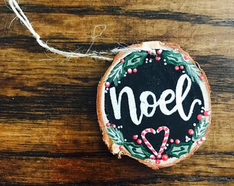 Noel Christmas Ornament | Wood Slice Ornament | Noel Decor | Christmas Tree Ornaments | Christmas Decor | Holiday Decor | Noel Decorations