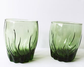 Pair of Vintage Green Lowball Glass Tumblers