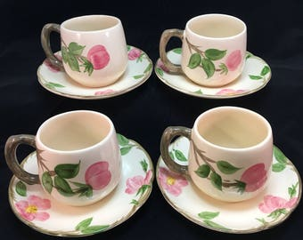 Vintage Franciscan Desert Rose Coffee Cocoa Cups with saucers