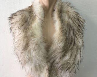 Genuine Real Golden Brown White Fox Fur Collar