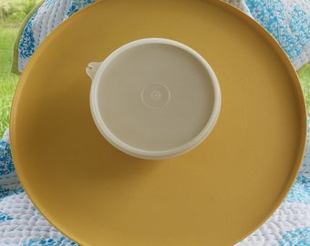 Chip n' Dip vintage tupperware in Harvest Gold party platter with bowl and lid