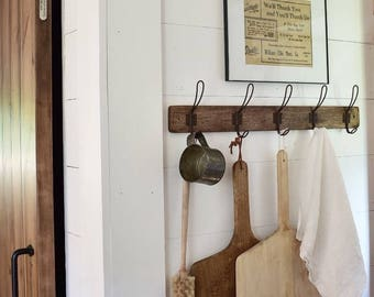 Farmhouse Coat Rack, Farmhouse Decor, Vintage Hooks, Storage and Organization, Fixer Upper, Rustic Farmhouse Decor, Shabby Chic Wall Decor