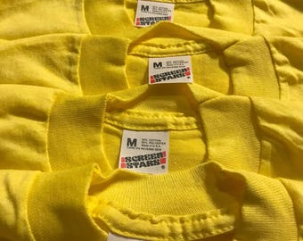 Lot of 5 Vintage Screen Stars youth SHIRT // 50/50 blend paper thin // blank deadstock t-shirt // kids 6-8 bright ellow // single stitch