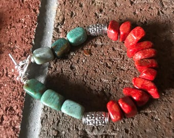 Sponge coral and Green Dragon Blood Jasper Nugget beaded silver bracelet