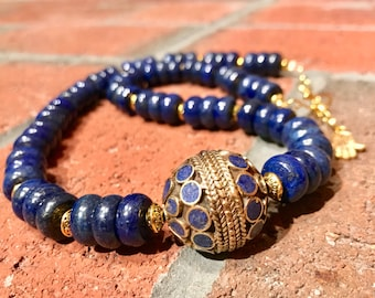 Lapis Lazuli & Brass Nepalese bead with Lapis Lazuli rondelle beads and brass handmade bohemian artisan necklace.