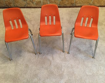 Set of 3 Mid Century Virco Orange Molded Plastic Stacking Preschool Chairs