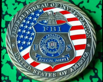FBI Federal Bureau of Investigations Saint Michael Large Colorized Challenge Art Coin