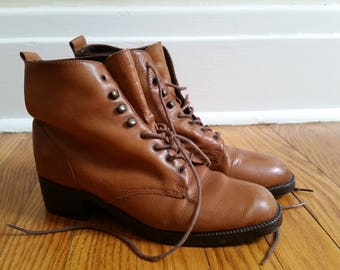 vintage ankle boots, camel brown leather derby lace up womens 6 1/2