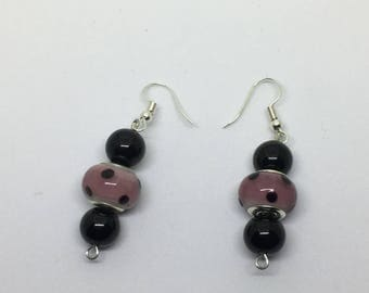 Lavender bead earrings with polka dots & black beads