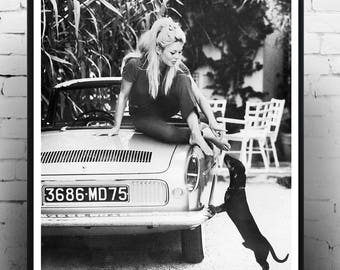 Brigitte Bardot with Dog - Fashion photography , Vintage French Actress , Poster, Gift, home decor, model