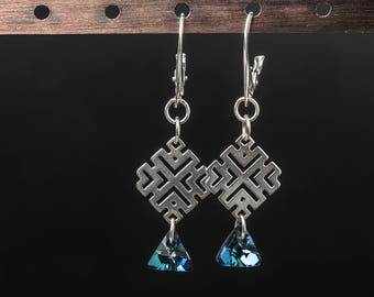 Maya maze 925 sterling silver and swarovski crystals earrings