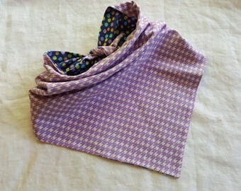 Traditional Tie End Dog Bandana - Reversible Purple with Polka Dots/Purple Houndstooth Plaid