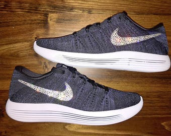 crystal Nike Lunarepic Low Flyknit Bling Shoes with Swarovski Crystals Women's Running Shoes Purple Black
