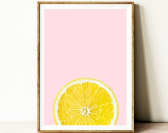 Printable lemon wall art, lemon print, citrus fruit poster, kitchen wall decor, lemon wall decor, fruit wall art poster, modern fruit art